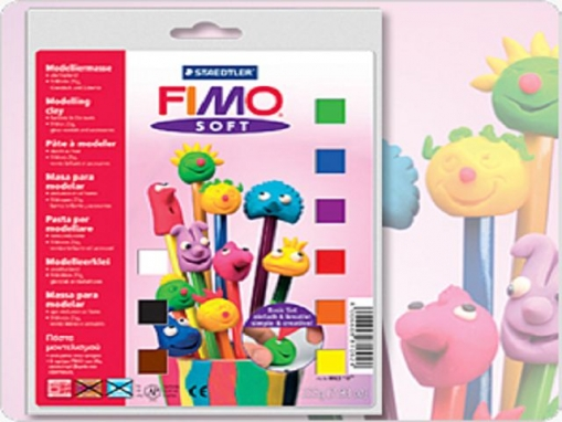 FIMO soft Basic-Set, 9 Fimo-Blocks, Glanzlack, Modellierstab