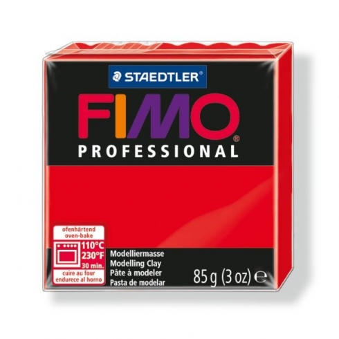 Fimo Professional Knete in reinrot, Modelliermasse 85g Normalblock